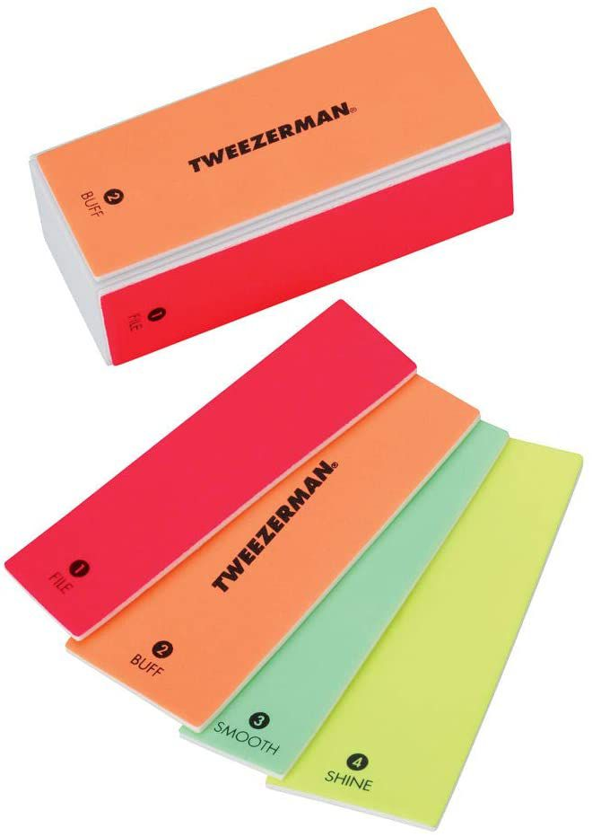 Tweezerman Neon Hot 4-in-1 File, Smooth & Shine Block