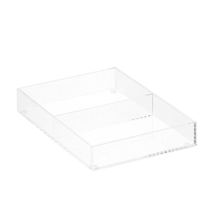 Container Store Luxe Acrylic Short 2-Section Divided Drawer Insert - makeup drawer organizer