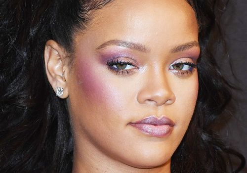 Rihanna purple holographic makeup