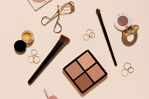 makeup products flat lay