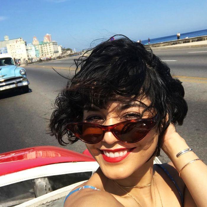 Vanessa Hudgens's festival beauty must-haves - sunny day selfie