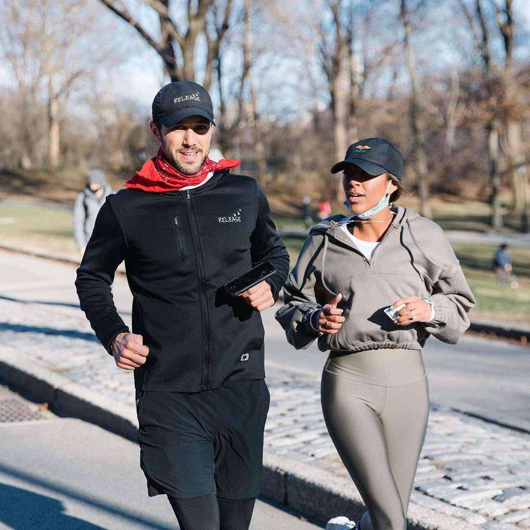 Tayshia Adams running with fiancé Zac