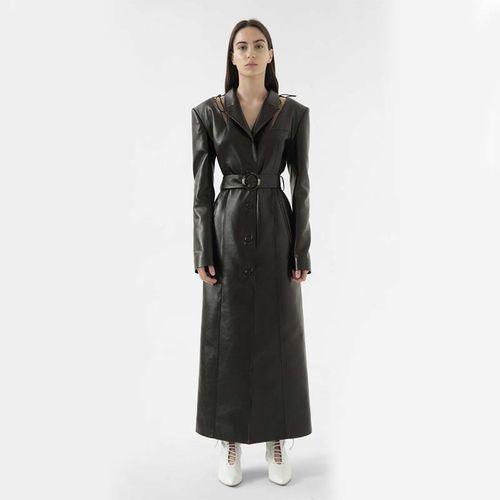 Faux Leather Cut Out Coat