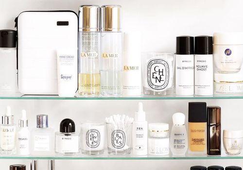 beauty products on shelf