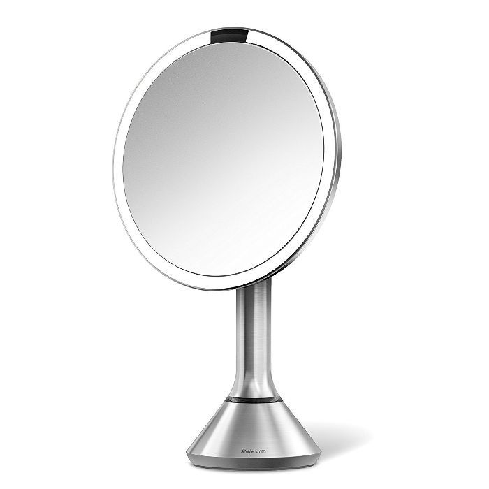 Oval Shaped Double-Sided Lighted Makeup Mirror; 1x/7x Magnification; Polished Chrome