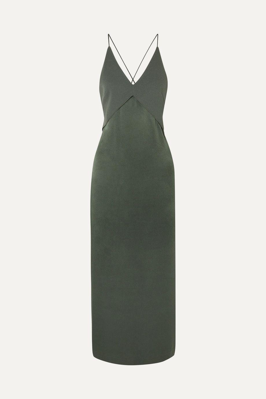 Satin and crepe midi dress