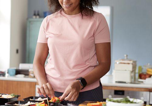 Woman preparing meals healthy metabolic burner type