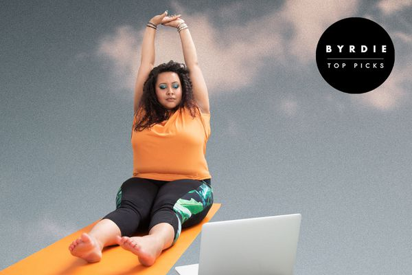 Photo composite of a woman on a yoga mat with her laptop out.