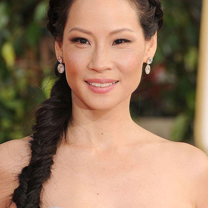 Lucy Liu long fishtail braid