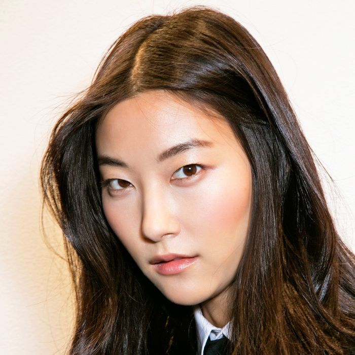 Korean model with clear, beautiful skin