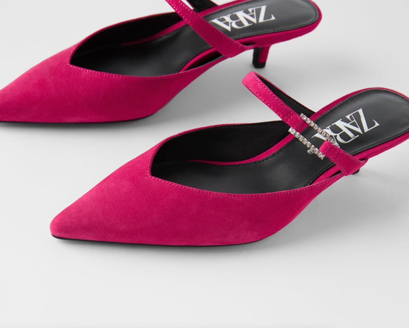 Suede Mule With Bejeweled Buckle