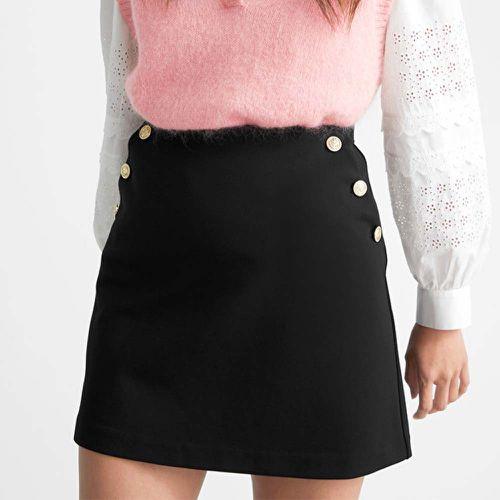 Gold Button Mini Skirt ($69)
