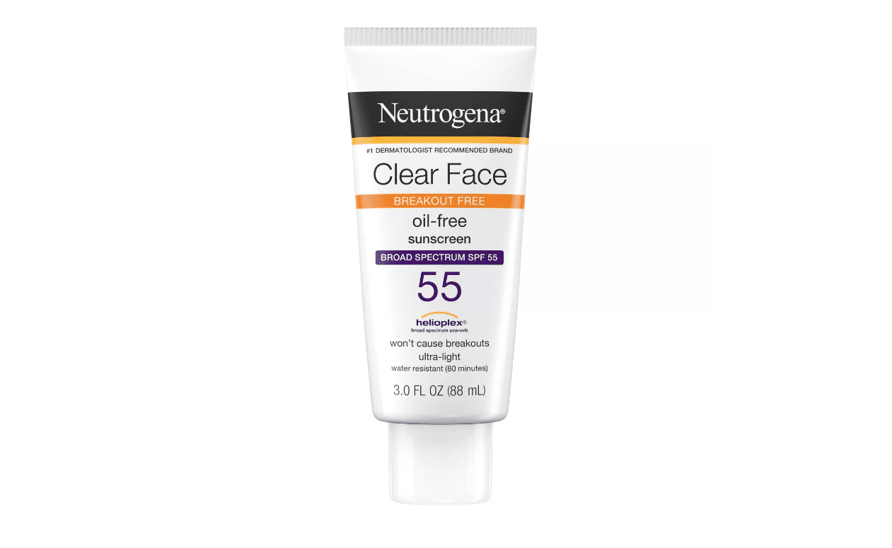A tube of Neutrogena Clear Face Oil-Free Sunscreen for acne at Target.