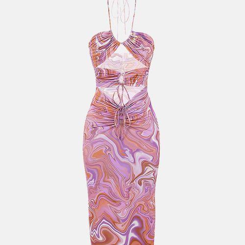 Welooc Hollow Out Drawstring Midi Dress