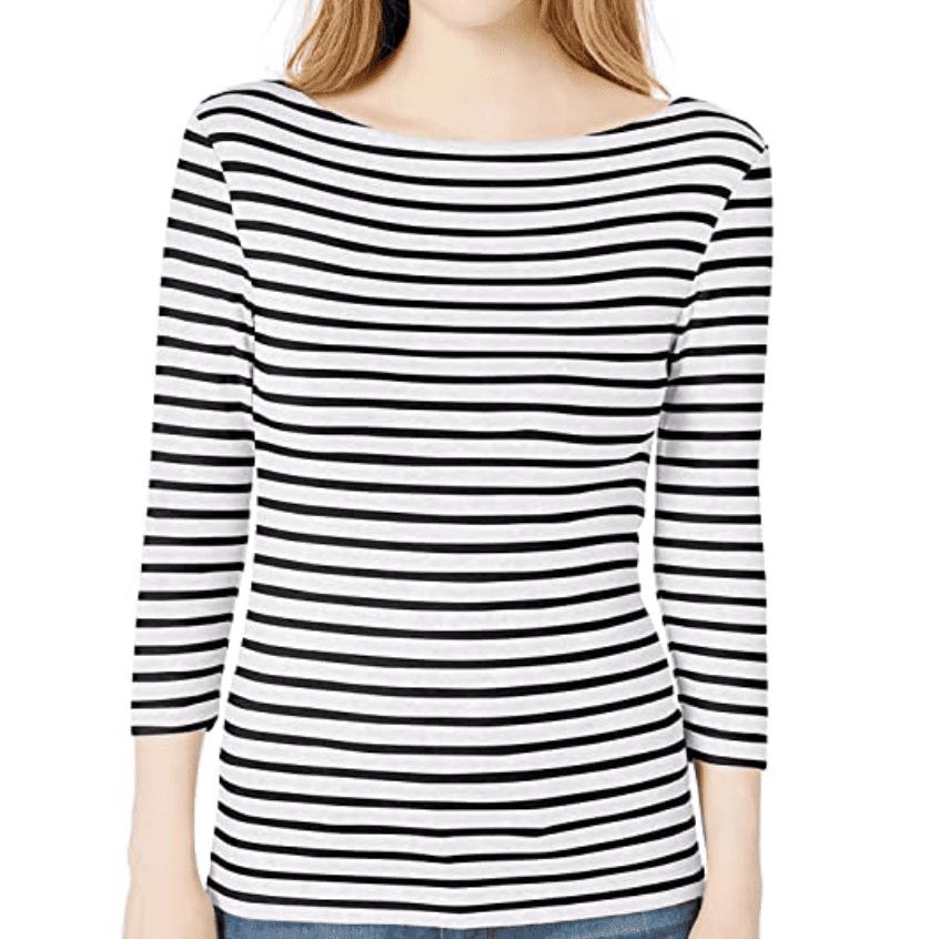 Amazon Essentials Slim-Fit 3/4 Sleeve Solid Boatneck T-Shirt