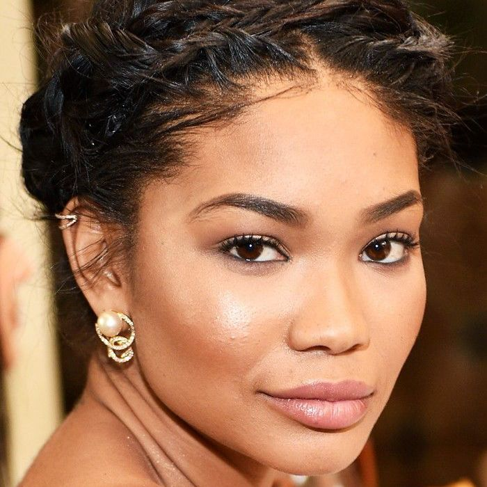 Chanel Iman with braided updo