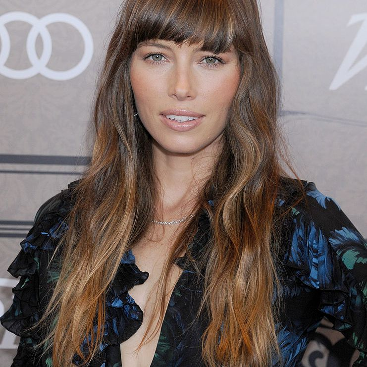 Jessica Biel with bangs and wavy hair