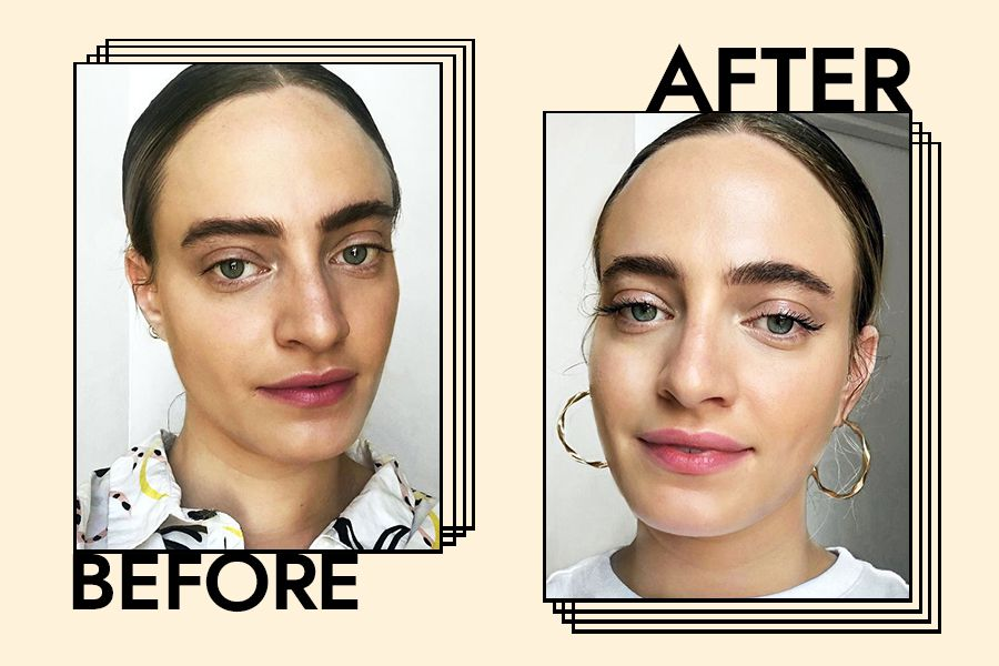 Senior Editor Hallie Gould Before and After using the mascara