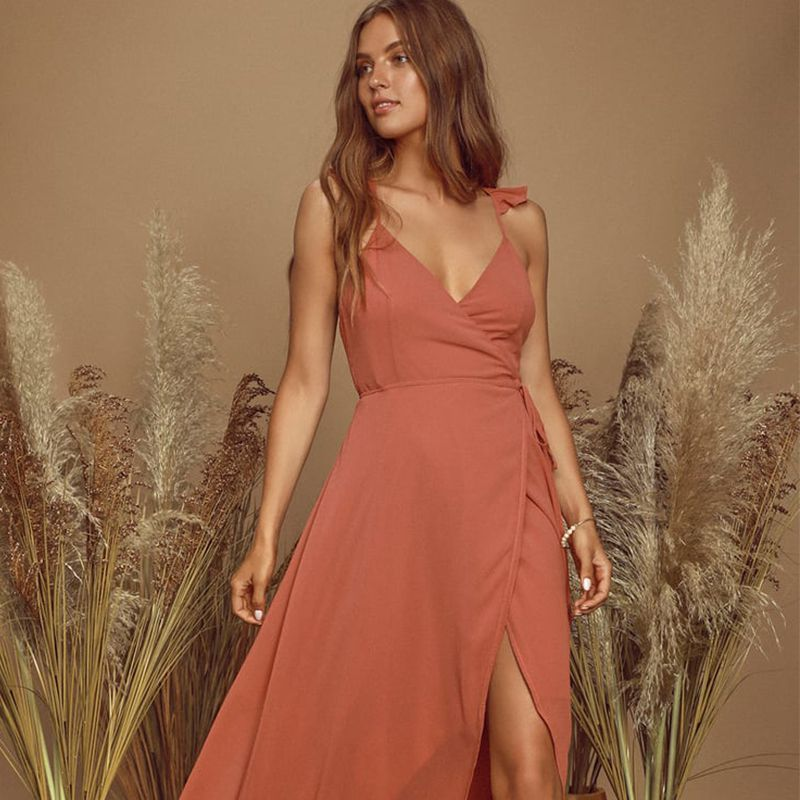 Here's To Us Rose High-Low Wrap Dress