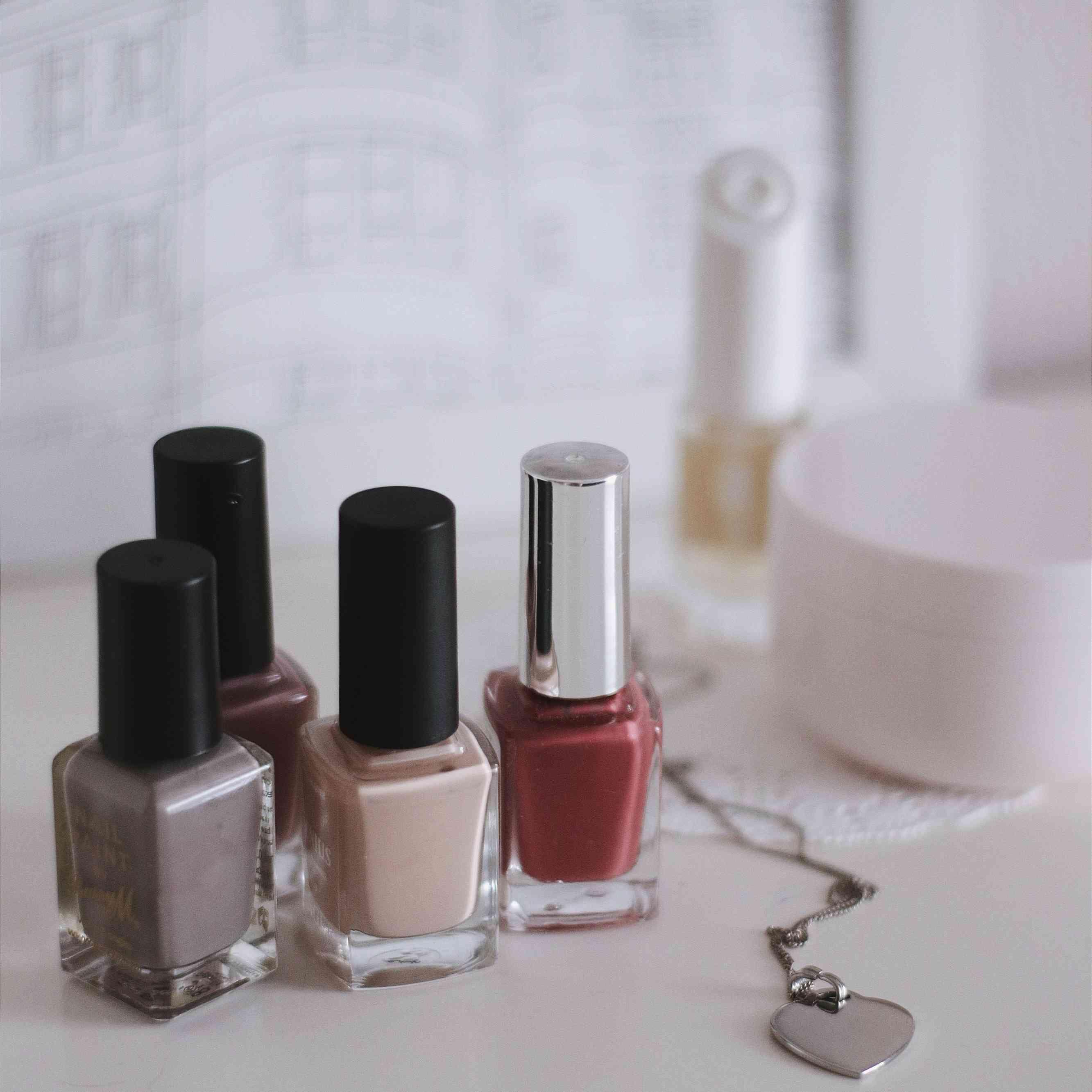 nail polish bottles on a table