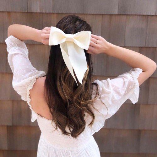 Bridgette Bardot White Satin Hair Bow ($44)