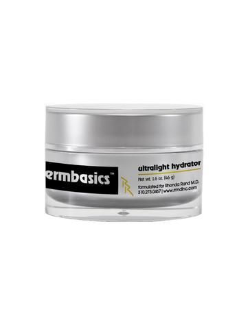A gray container of lightweight moisturizer with black and yellow writing.