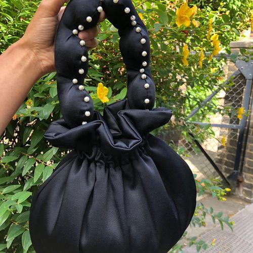 Flat Fifteen Black Satin Crepe Scallop Handle Bag