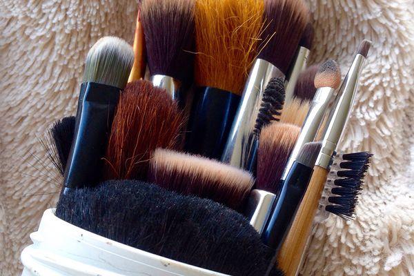 makeup brushes in bag