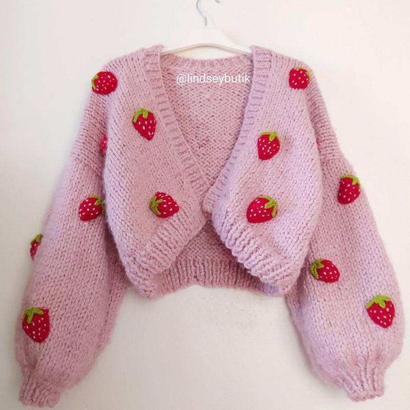 Chunky Strawberry Cardigan