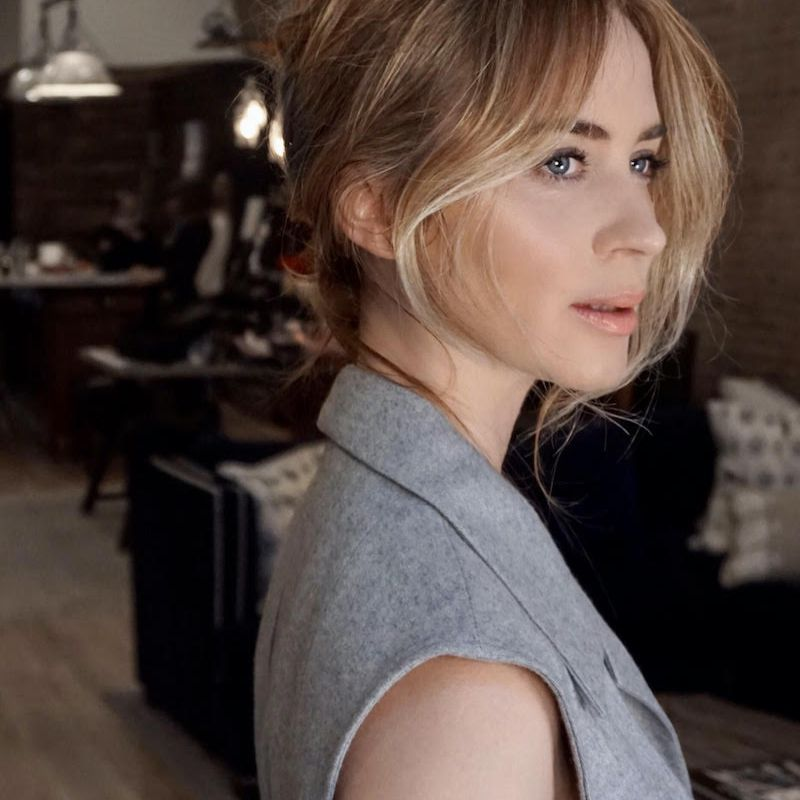 Emily Blunt with hair pulled back