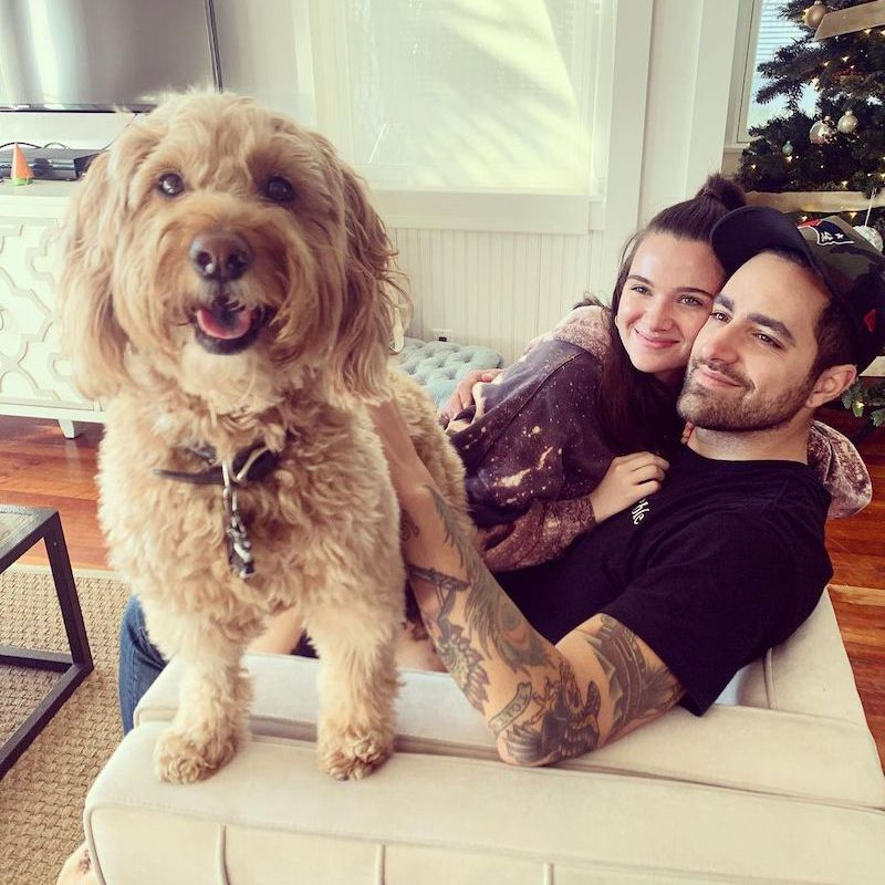 Katie Stevens with husband and dog