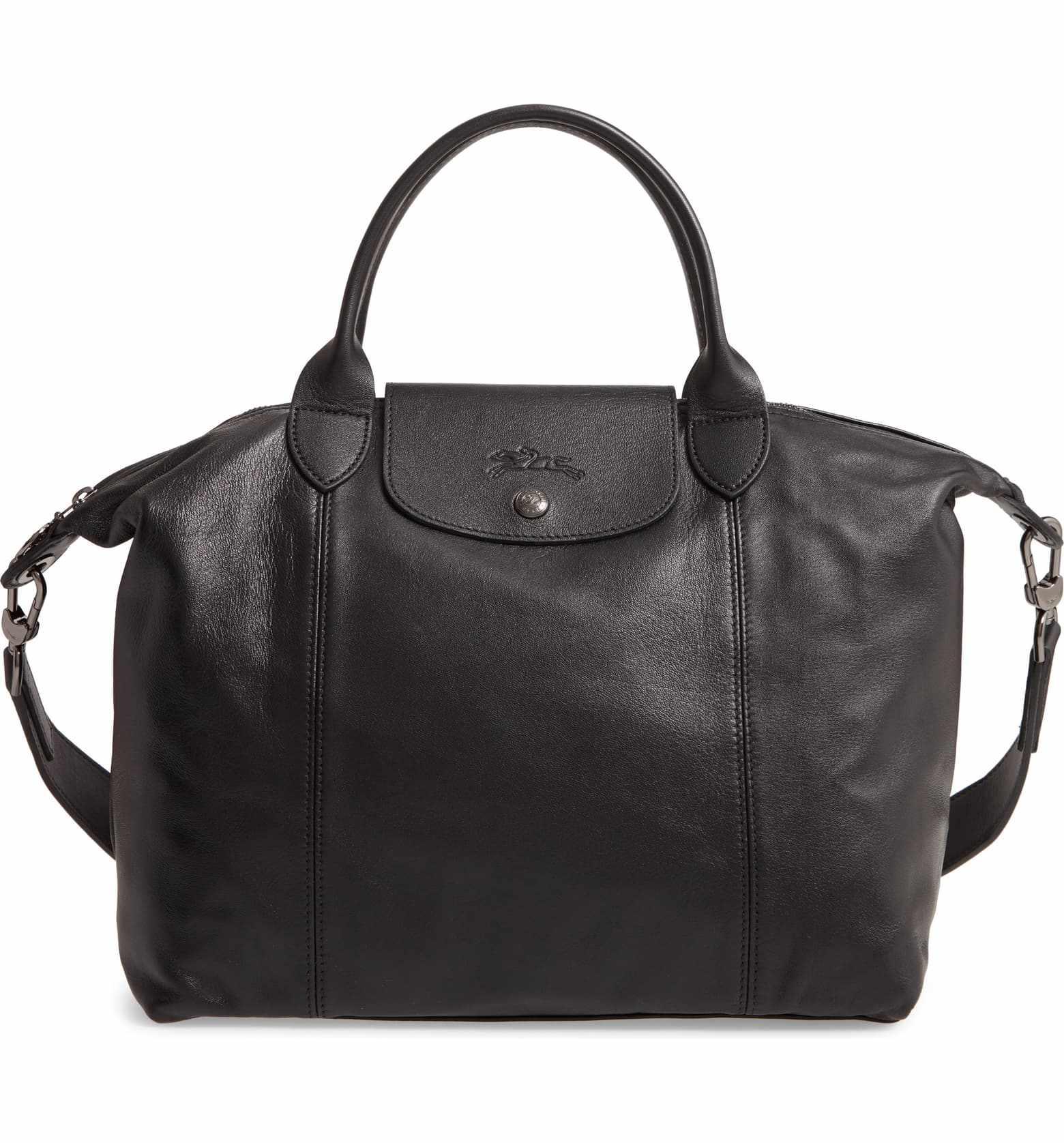 Medium Le Pliage Cuir Leather Top Handle Tote