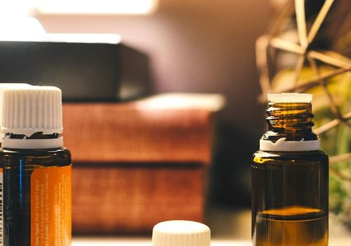 Essential oils on a desk at a home
