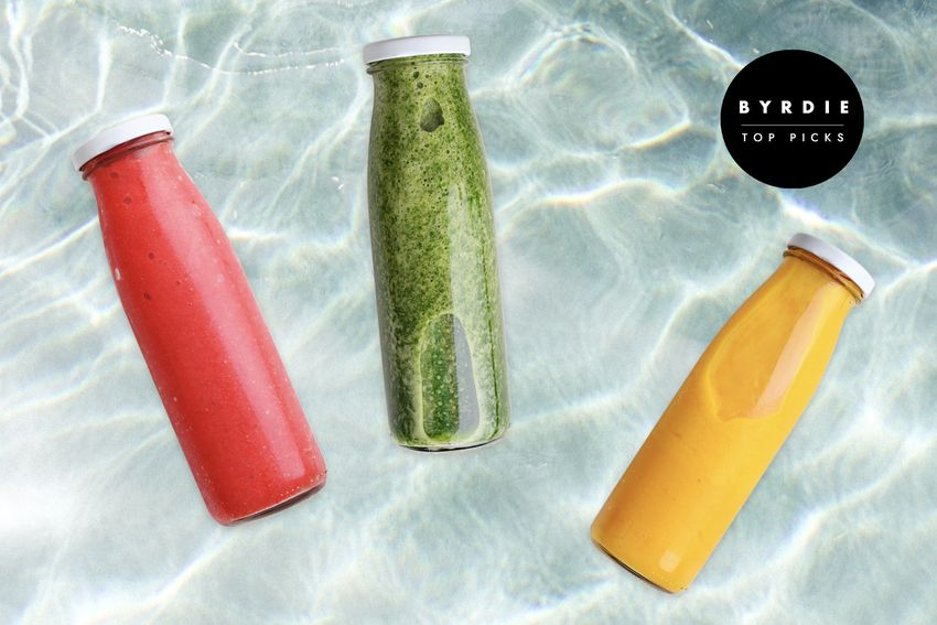 Photo composite of a red juice, green juice and yellow juice in glass jars over a watery background.