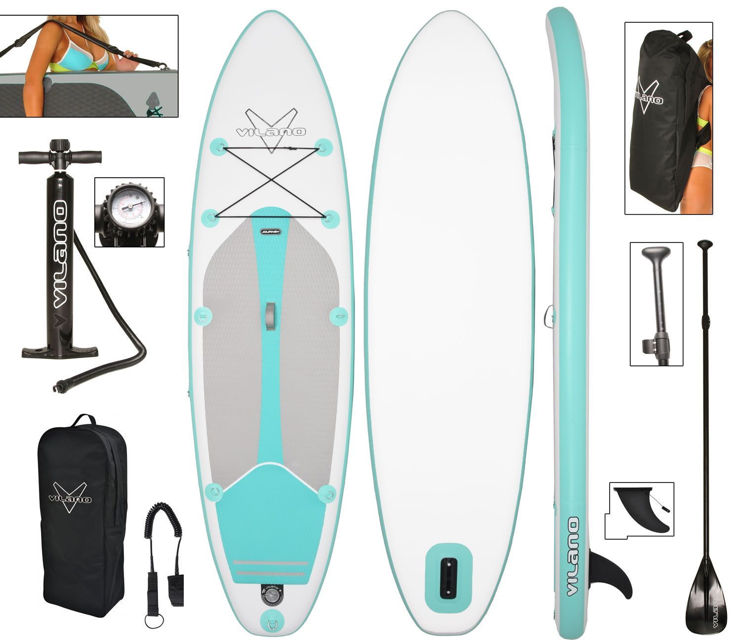 Vilano Journey Inflatable 10' SUP Stand Up Paddle Board Kit
