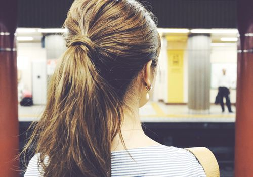 Woman with full ponytail