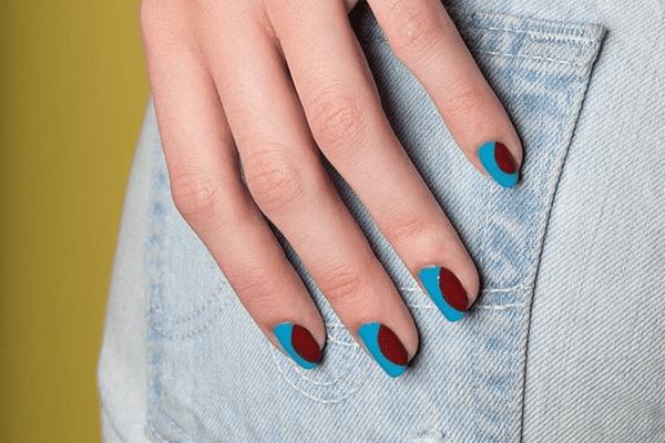 Burgundy nail art.