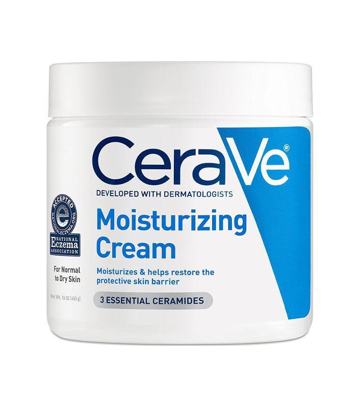 A white tub of CeraVe Moisturizing Cream.