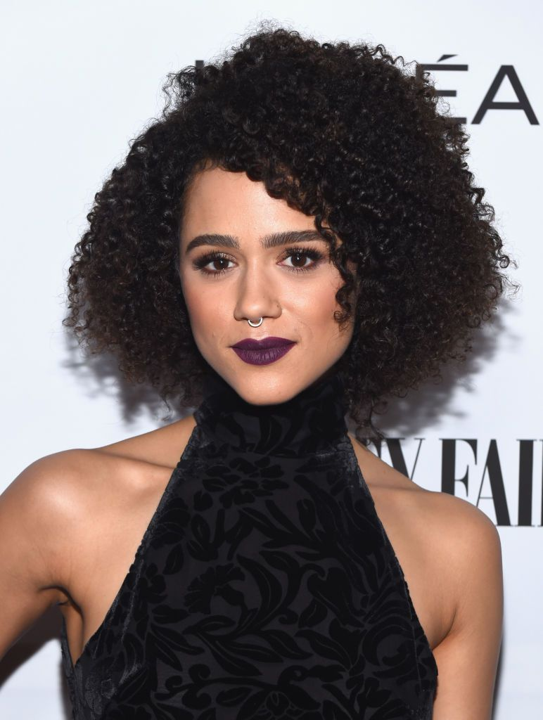 Nathalie Emmanuel curly bob with side-swept bangs