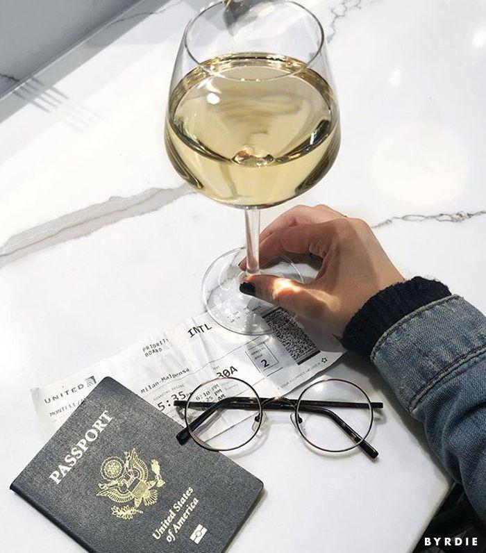 wine glass with passport