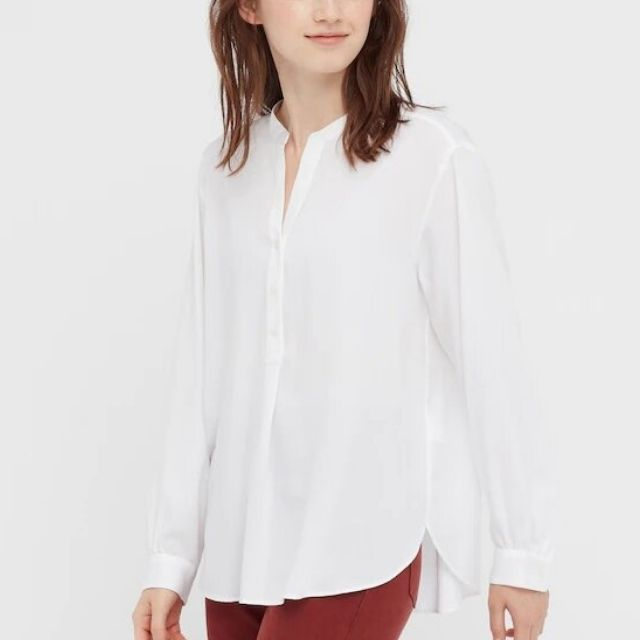 Uniqlo Rayon Long-Sleeve Blouse