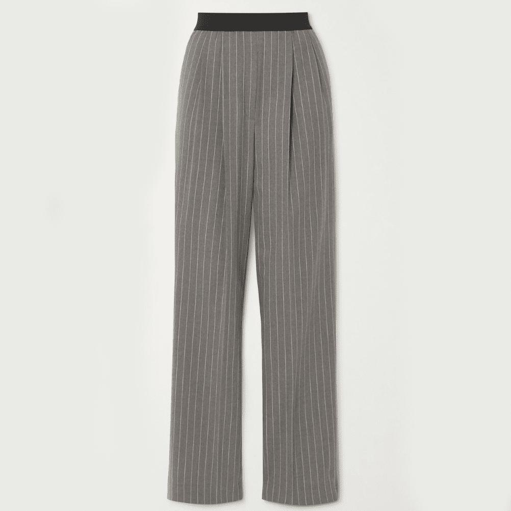 Loulou Studio Gray Moretta Pleated Pinstriped Stretch-Wool Straight-Leg Pants