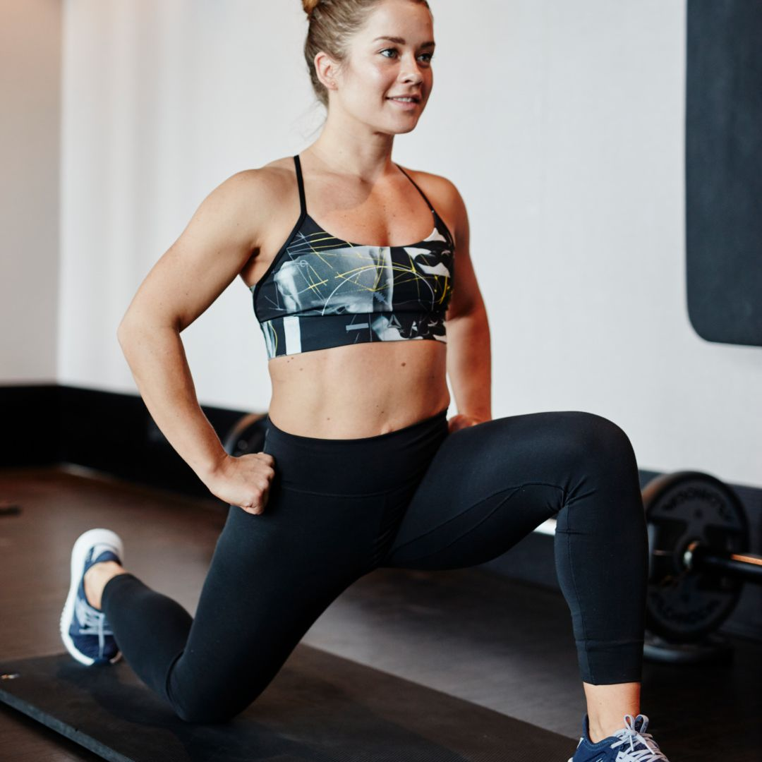 Woman warming up before exercise routine
