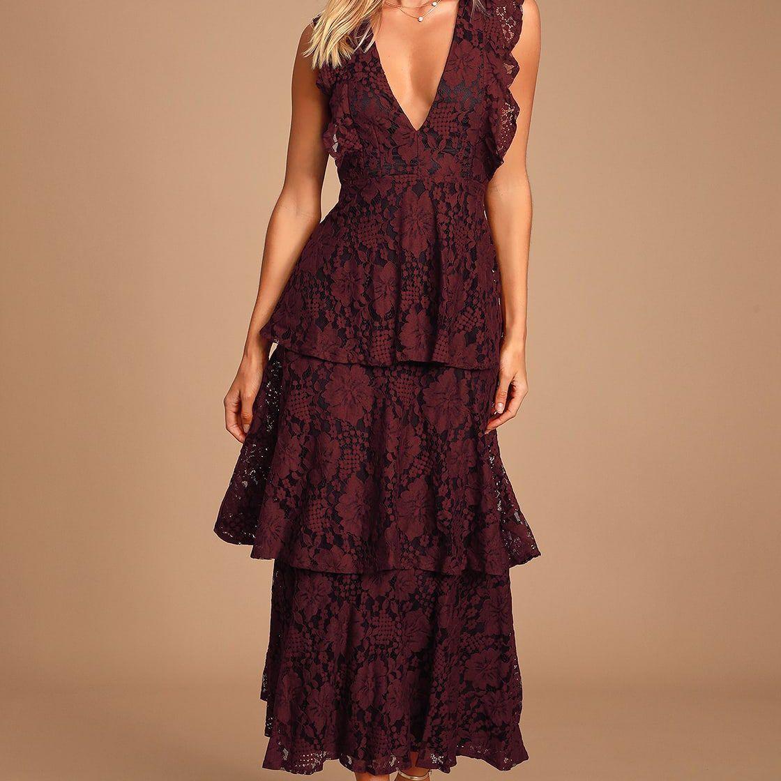 Lulus Molinetto Burgundy Lace Ruffled Tiered Sleeveless Maxi Dress