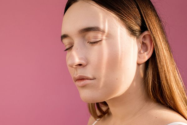 woman with light reflected on face