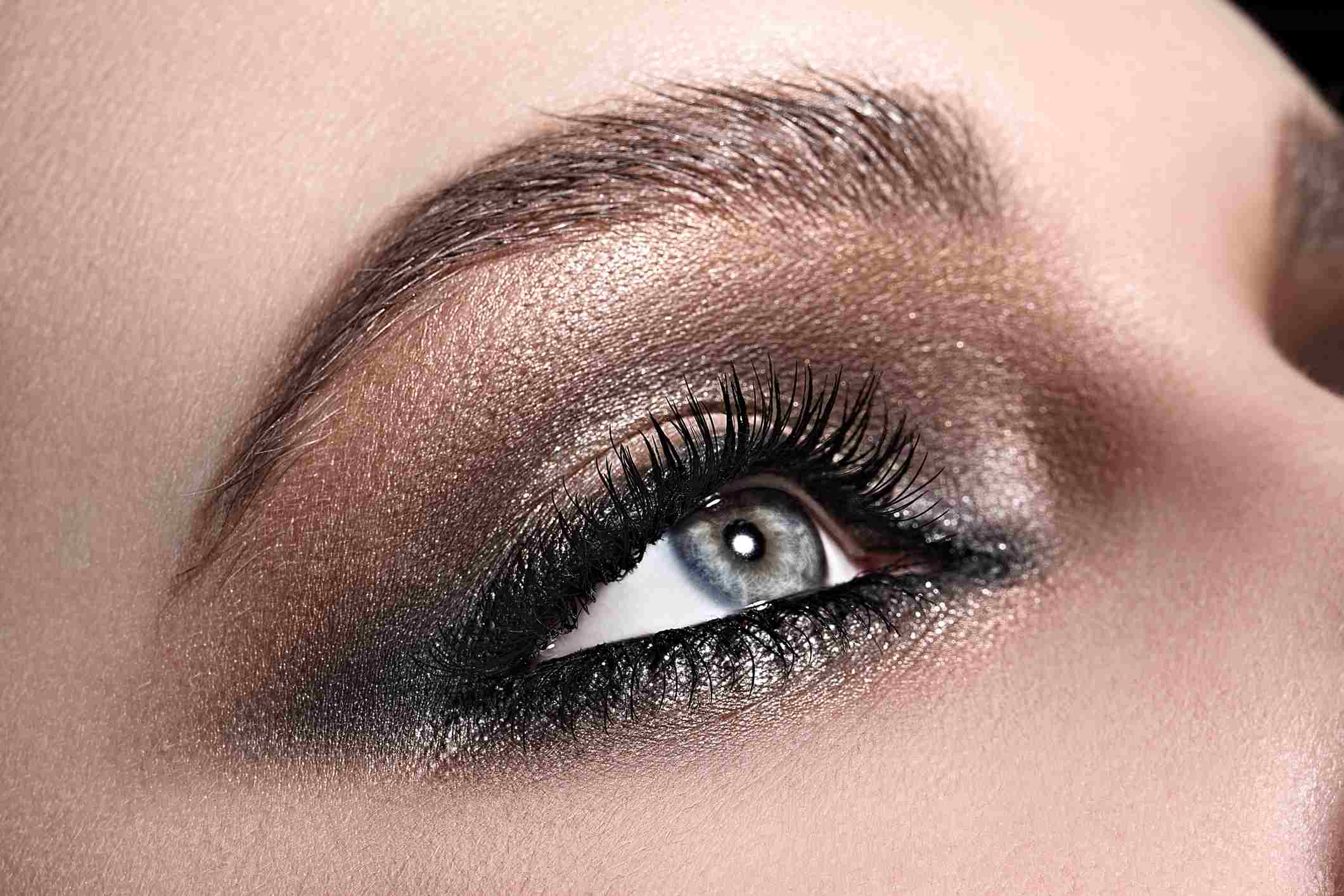 Woman with blue eyes and her makeup done