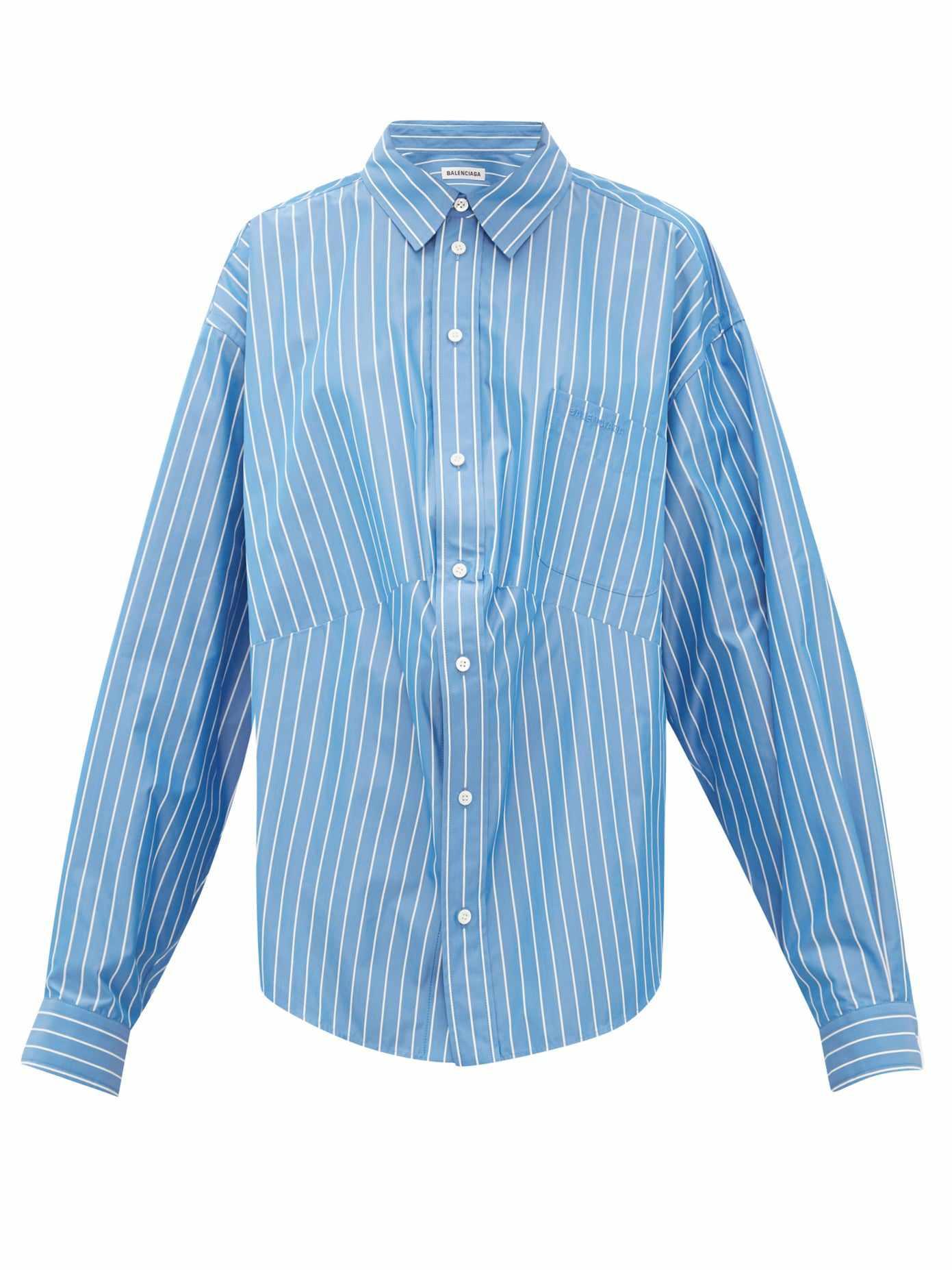 Oversized striped cotton-blend shirt