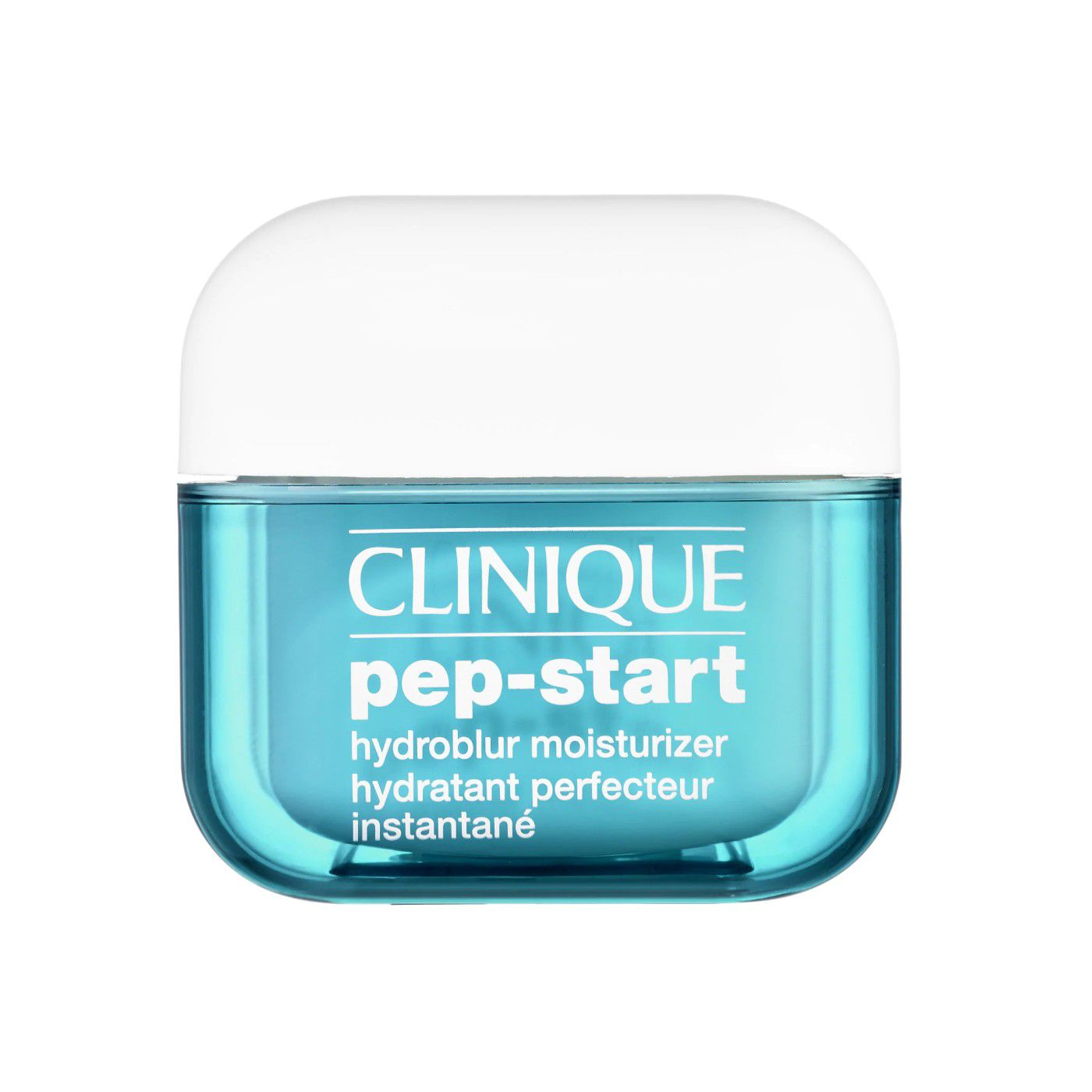 Blue jar of Clinique Pep-Start Moisturizer on a white background.