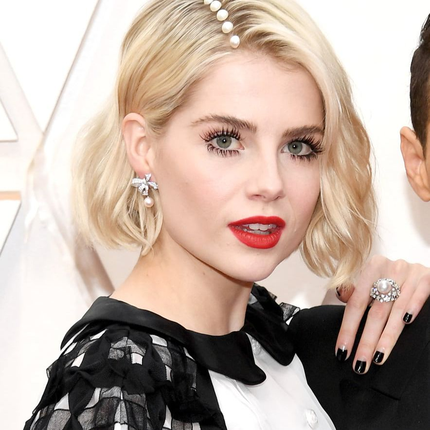 Lucy Boynton with a bedazzled side part