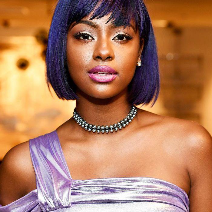 Purple hair: Justine Skye purple hair